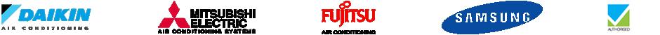 Daikin, Mitsubishi, Fujitsu, Samsung & Australian Refrigeration Logos